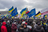 People and flags at meeting in Kiev — Stock Photo