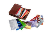 Wallet with discount plastic cards — Stock Photo