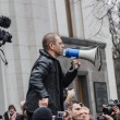 Deputy Pashinsky speaks in megaphone on meeting — Stock Photo #41577493