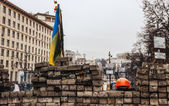 Barricade in a day of mourning for those killed in Kiev — Stock Photo