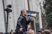 Deputy Pashinsky speaks in the megaphone on meeting — Stock Photo