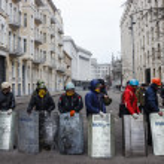 Постер, плакат: Group of self defense of the Maidan with shields