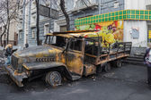 Burned truck in the center of Kiev — Stock Photo