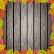 Old wooden texture with leafs — Stock Photo
