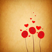 Painted flowers with flying hearts — Stock Photo
