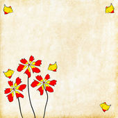 Painted red flowers with flying birds — Stock Photo