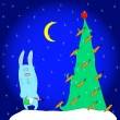 Stock Vector: Christmas bunny and christmas tree