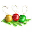 Background with Christmas balls, vector illustration — Stock Vector #34578281