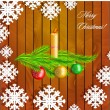 Christmas decoration on wooden background — Stock Vector