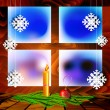 Christmas decorations on a background window — Stock Vector