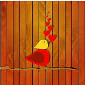 Illustration of love bird on wooden background — Stock Vector