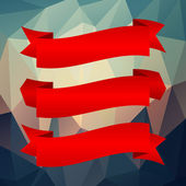 Red ribbon set on geometric background — Vecteur