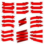 The collection of red ribbons, isolated on white — Stock Vector