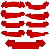 La collection de rubans rouges, isolé sur blanc — Vecteur