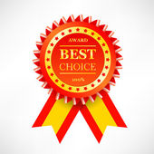 Best choice red label with ribbons. — Stock Vector