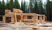 Construction of log houses — Stock Photo