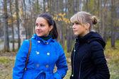 Dvě dívky v podzimním parku — Stock fotografie