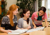 Girls involved in college — Stock Photo