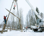 Repair power lines in winter — Stock Photo