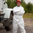 Worker in bio-hazard suit — Stock Photo