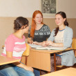 Stock Photo: Schoolgirls talking in class literature