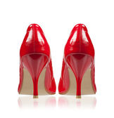 High-heeled shoes classic style red. Rear view. — Stock Photo