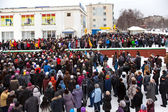 Protest rally in Kandalaksha against rising utility rates — Stock Photo