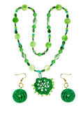 Beads and earrings from plastic, wood, yarn glass — Stock Photo