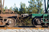 Railway train cars. automatic coupling — Stock Photo