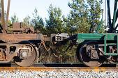Railway train cars. automatic coupling — Stock Photo