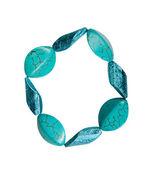 Bracelet made of plastic imitation turquoise — Stock Photo