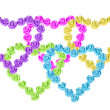 Stock Photo: Roses jewelry in shape of hearts arranged as olympic rings