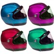 Постер, плакат: Motorcycle helmets on a white background in different colors Co