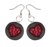 Heart earrings from polymer clay and beads. Gift for Valentine's — Stock Photo