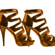 Women's shoes golden colors. collage — Stock Photo