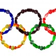 Stock Photo: Five bracelets lined combined Olympic rings. collage
