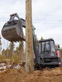掘削機ローダーの油圧式トラクター掘り — ストック写真
