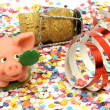 Confetti, pig, happy new year — Stock Photo