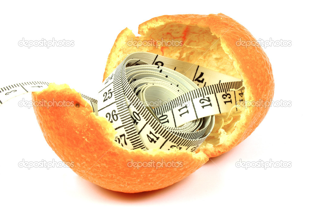 Fitness tangerine with a measuring tape with white background  Stock Photo #14408483