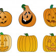 Stock Vector: Halloween pumpkins