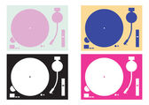Dj record-player silhouettes — Stock Vector