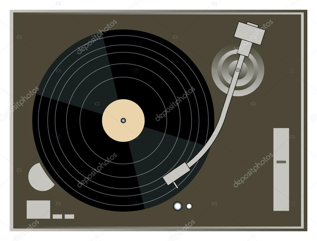 DJ Turntable on white background vector graphics — Stock Vector #14663159