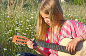 Girl with guitar — Stockfoto