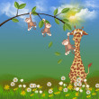 Foto de Stock  : Monkeys and giraffe