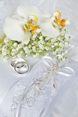 White orchid bridal bouquet — Foto Stock