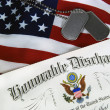 Stock Photo: Honorable discharge with tags