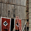 Broken barn door with ladder - Stock Photo