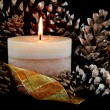 Stock Photo: Candle with pine cones