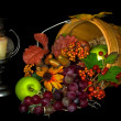 Autumn basket with candle — Stock Photo #12319812