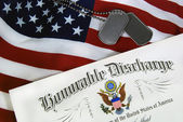 Honorable discharge with tags — Stock Photo